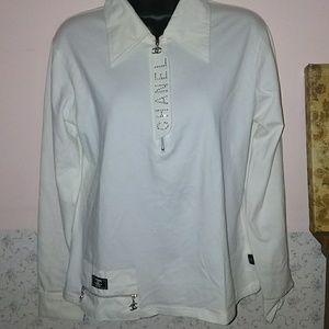 Chanel White Long Sleeves Blouse XL